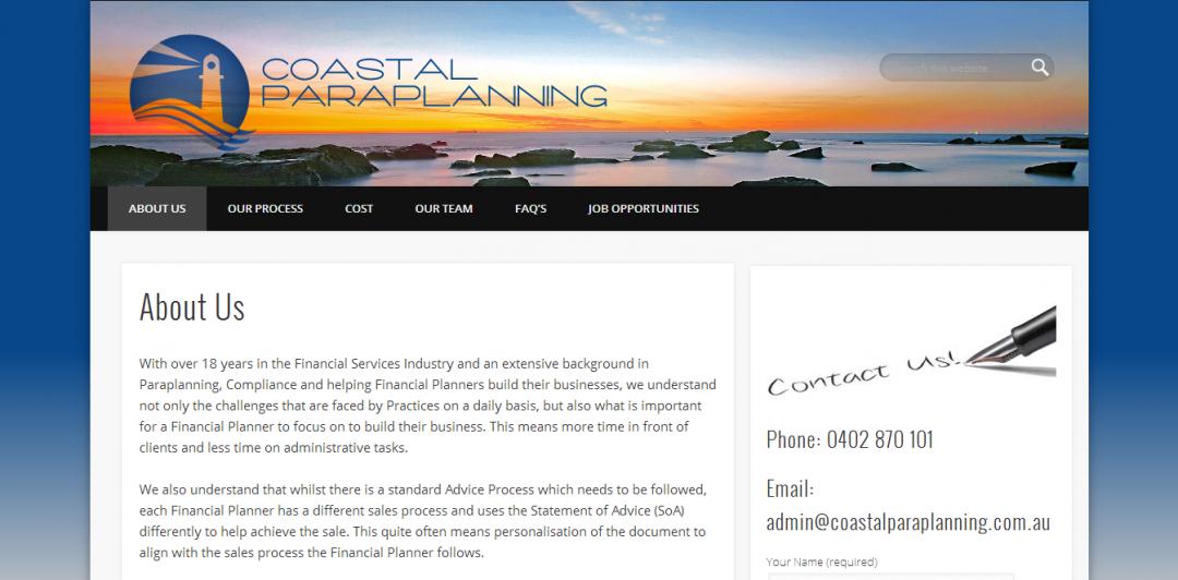 coastal paraplanning web design project
